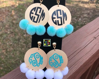 Monogram Personalized Pom Pom Earrings