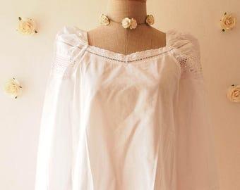 Mid Year SALE Boho Bohemian Blouse Emily Blouse White Romantic Cotton Blouse Summer Shirt Beach Tribal Clothing - Size S-M
