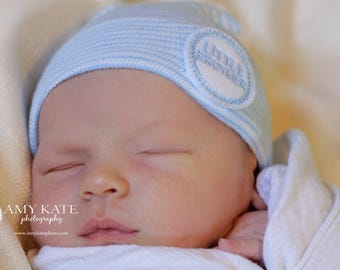 Newborn Hospital Hat for Boys (Little Brother) (infant beanie, boy beanie, newborn boy hat)