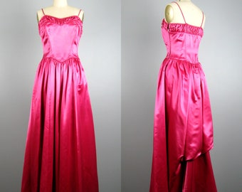 Vintage 1940s Formal Dress 40's Fuchsia Pink Heavy Satin Gown SIze S
