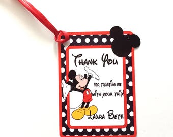 Mickey Thank You Party Favor Tags for Cruise Event Planner, Set of 12 Mickey Mouse Ears & Dots Personalized Thank You tags, Paper Supplies