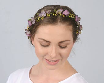 Floral Headband Purple Flower Crown Woodland Blossom Hair Piece Leaf and Berry Headpiece Spring Wedding Bridal Hair Accessory Whimsical