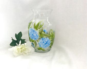 Hand painted blue hydrangea vase personalizable