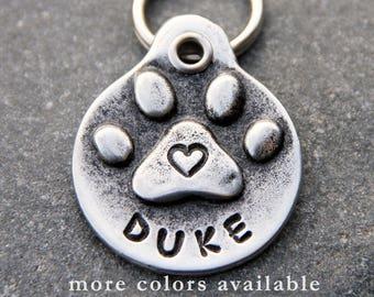 Pet Tags Dog ID Tags Pet ID Tags Custom Dog Tags Personalized Dog Name Tags Large Dog Tag Heart Paw Print