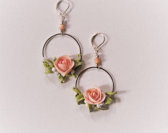 Wedding earrings, Rose earrings, flower jewelry, clay flower earrings, drop earrings,Polymer clay roses, Flower earrings