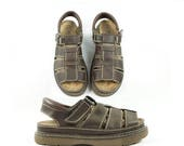 ON SALE Braided Fisherman 90s Thick Strapped Sandals, Velcro Gladiator Sandal, Platform Brown Sandals, Women's Size 9.5