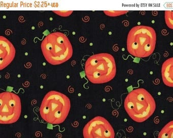 ON SALE Halloween, Pumpkins, Tricks and Treats by Quilting Treasures, Jack O Lantern Fabric, Halloween Fabric, Pumpkin Fabric, 01538