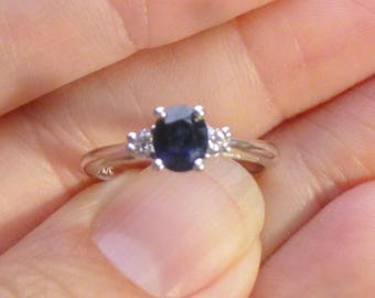 Antique diamond and  large Sapphire mounted in 14KT white gold Wedding Ring .16 points of diamonds