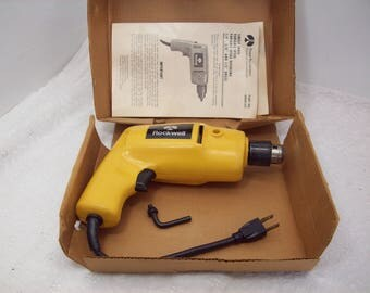 Vintage Rockwell Double Insulated 3/8 Inch Single Speed Drill In Box