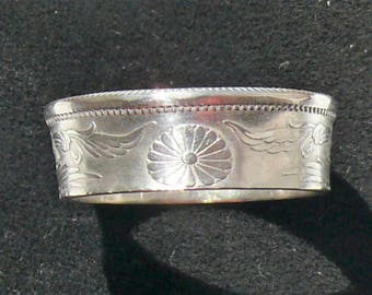 Ladies Silver Coin Ring 1923 Japan 50 Sen, Ring Size 6 3/4 and Double Sided