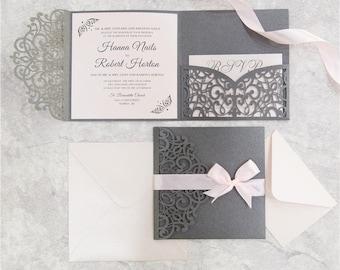 Invitation kit etsy diy invitation kit blush and gray laser cut invites for wedding grey wedding solutioingenieria Gallery