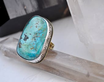 Sky People Collection | Turquoise x Brass x Sterling Silver | Falling Star Ring