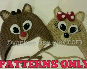 Rudolph the Red Nosed Reindeer and Clarice Inspired Crochet Hat Pattern in Sizes Toddler to XL Adult