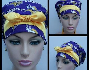 Handmade Woman Surgical Scrub Cap - NFL - Minnesota Vikings - 100 % cotton