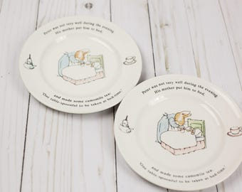 2 Vintage 1991 Peter Rabbit Frederick Warne & Co Wedgwood Childrens Plates