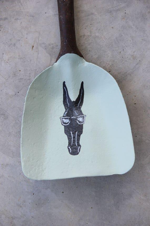 Cool Mule vintage shovel, Mule art, Columbia Tennessee art, painted shovel, equine art, mule painting, mint green, farm art, unique gift