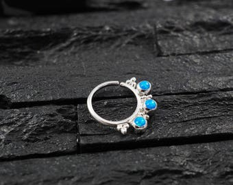 Triple Skyblue opal with cluster trinity ball hoop Daith earring / Cartilage / Septum ring / Nose ring