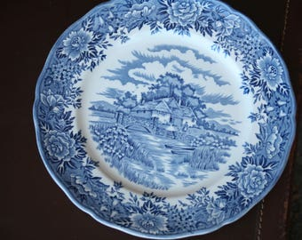 Dinner Plate- English Village - Salem China Co. Olde Staffordshire, Tea Time, Vintage 1950s - 1960s Ironstone England
