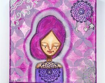 Crown Chakra Girl Art Work. Mixed media artwork. Original Art for Sale, Original Art Work, Fine Art, Original Painting, Gift Women