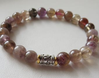 8mm Rare Auralite Grade A Sterling Silver and Gold Stretch Bracelet