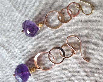 Amethyst Rose Gold Earrings with Silver and Gold Accents