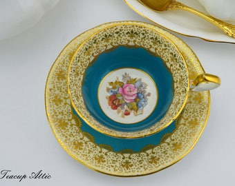 Aynsley Signed By The Artist JA Bailey Teal Blue and Gold Floral Teacup and Saucer Set, English Bone China Tea cup, ca. 1939