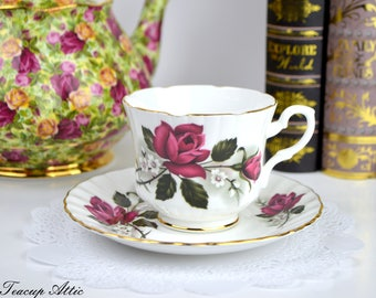 Salisbury Teacup and Saucer Set With Deep Red Roses, Vintage English Bone China Tea Cup, Wedding Gift, c. 1927-1961