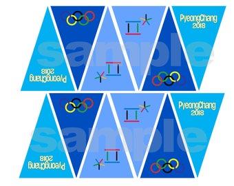 Printable PyeongChang 2018 Winter Olympic Mini Banner Pennant Line