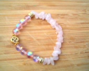 ELEGANT  Pink Rose Quartz & Pink Gemstone Bracelet, Stretch, Elegant, Sweet Feminine, Beaded Bracelets, Pink Bracelets, Gemstone