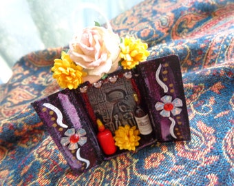 Sekhmet Matchbox Shrine Ornament. Travel Altar. Mixed Media. Altered Art