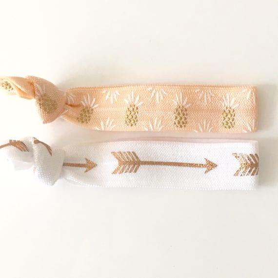 hair tie bracelets, beach bracelets, pineapple bracelet, beach accessory, friendship bracelets, bohemian bracelet, girl gift