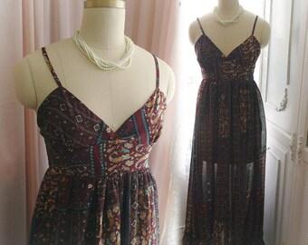 Boho Romantic print Chiffon Goddess Maxi Dress sweetheart tunic bohemian beach dress burgandy red  long women dress