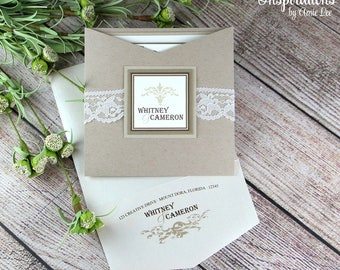 wedding invitations lace invitations rustic wedding invitations barn wedding lace wedding