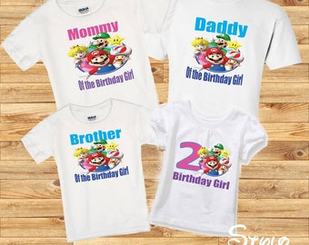 Super Mario Family shirts, birthday girl super mario, birthday girl shirt, family super mario, family shirts, birthday party, super mario