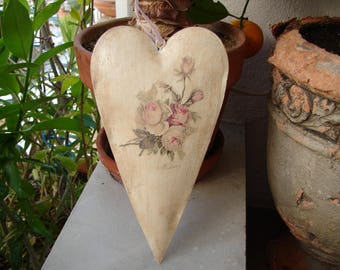 vintage,French pink roses decoupaged onto shabby chic,painted tin heart with pink ribbon to hang
