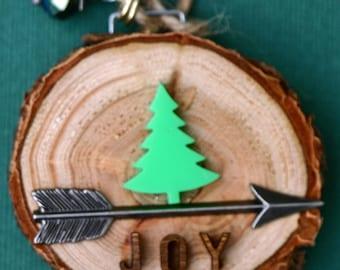Joy, Christmas tree ornament, wood slice ornament, birch slice, tree slice, art on wood, round art, tree, handmade, arrow, small, natural