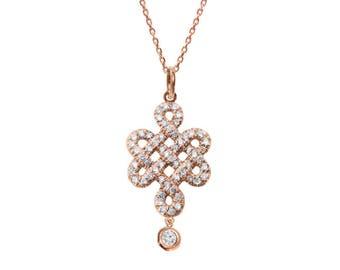 Diamond Pendant Necklace, Tibetan endless love knot with a diamond drop Necklace, 14K Rose Gold Pendant