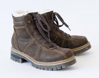 Vintage 90's Women's Brown Faux Leather Ankle Boots UK 6.5 EU 40 US 8.5
