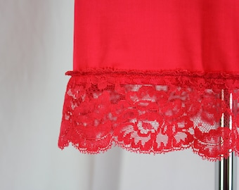 Vintage Half Slip Lace Red Rogers Satin Glo Small with Lace