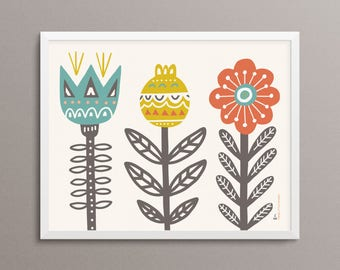 "GARDEN Folk Art Print - 8x10"" - Limited Edition"