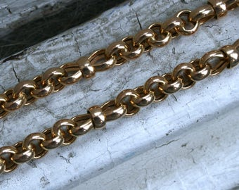 Vintage 14K Yellow Gold Wide Link Chain, 18 inches