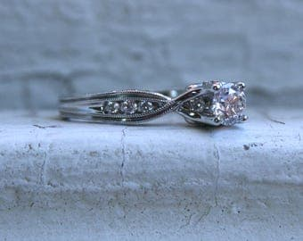 Great Classic Vintage 14K White Gold Diamond Engraved Engagement Ring - 0.78ct.