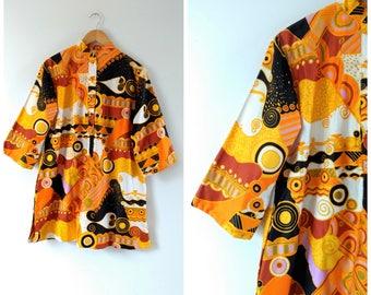 Vintage 60s 1960s yellow tunic dress,  psychedelic dress, mini dress, cotton tunic, medium / large