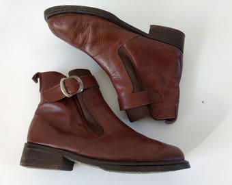 Vintage leather ankle boots, mexican leather ankle boots, size US 7