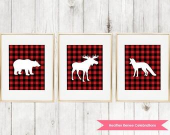 Woodland Nursery Printable Set | Lumberjack Nursery Decor | Red Buffalo Plaid Wall Art Instant Download