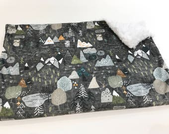 Charcoal Max's Map Minky Baby Blanket - White Llama Minky Backing