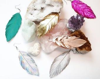 MEDIUM Size - Feather Earrings, rose gold, Leather Feather, Hippie, Metallic, Bride, Coachella, Gypsy, Bridesmaids, Festival, Boho, Bohemian