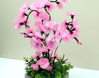Handmade Nylon Flower Arrangement, Double Layers of Nylon Mini Pink Orchids, Wedding Décor, Nylon Flowers, Handmade Flowers, Floral Decor