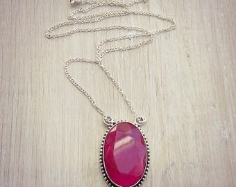 Pink Ruby Necklace - Ruby Gemstone - Layering Necklace - Statement Necklace - Silver - Long Necklace - Sweater Necklace - July Birthstone