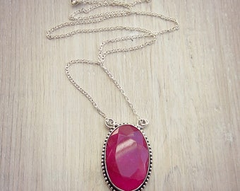 Pink Ruby Necklace - Ruby Gemstone - Layering Necklace - Statement Necklace - Silver - Long Necklace - Sweater Necklace - July Birthstone
